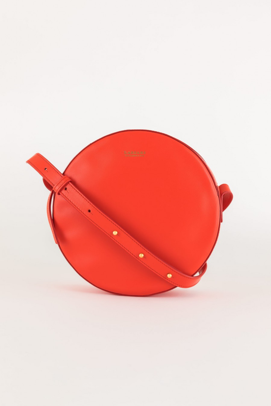 red leather round bag made in italy