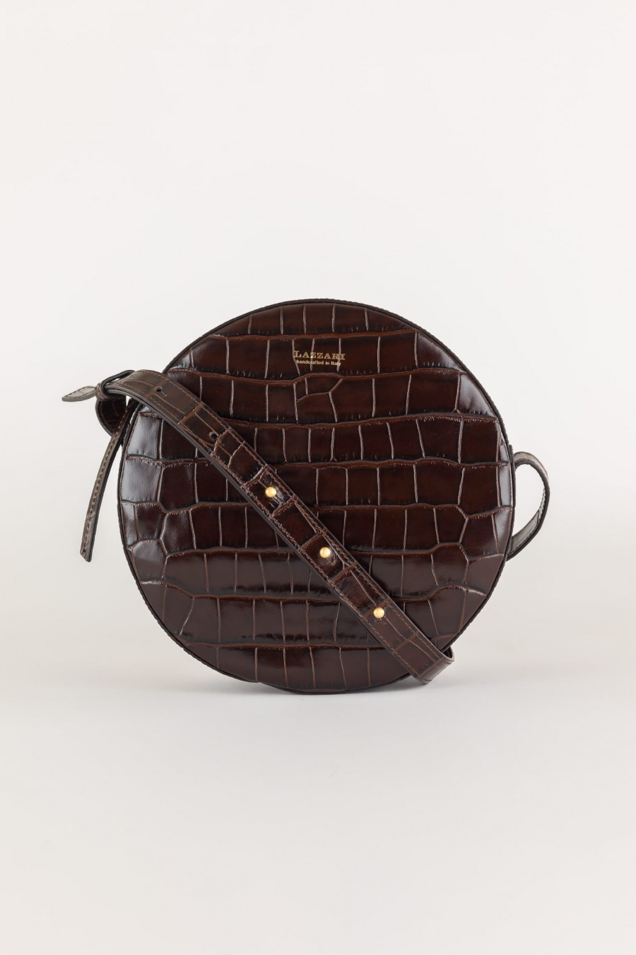 Crocodile effect round bag100% leather