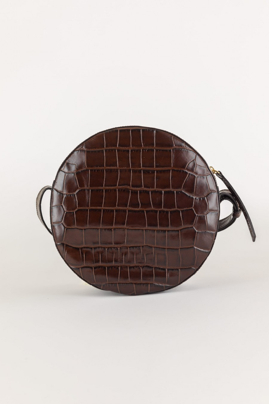 made in italy crocodile effect round bag