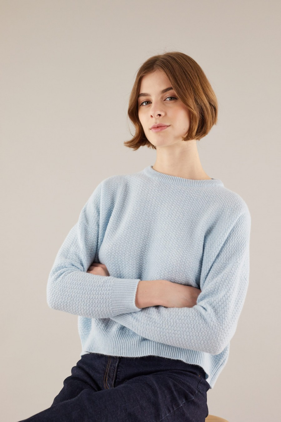 Light blue woolen jumper