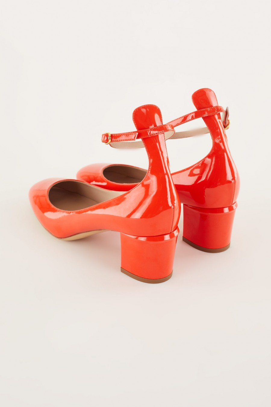 patent red Mary Jane with ankle strap