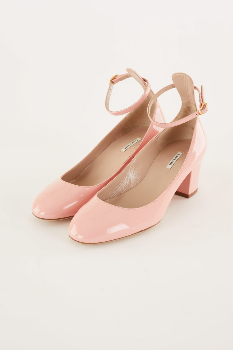 patent pink Mary Jane with ankle strap