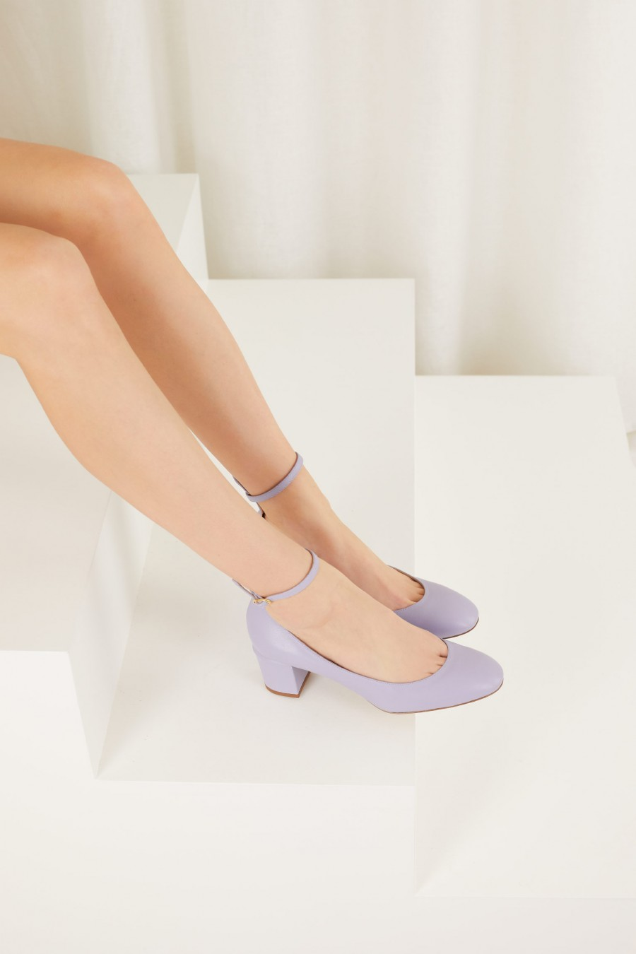 lilac Mary Jane with ankle strap