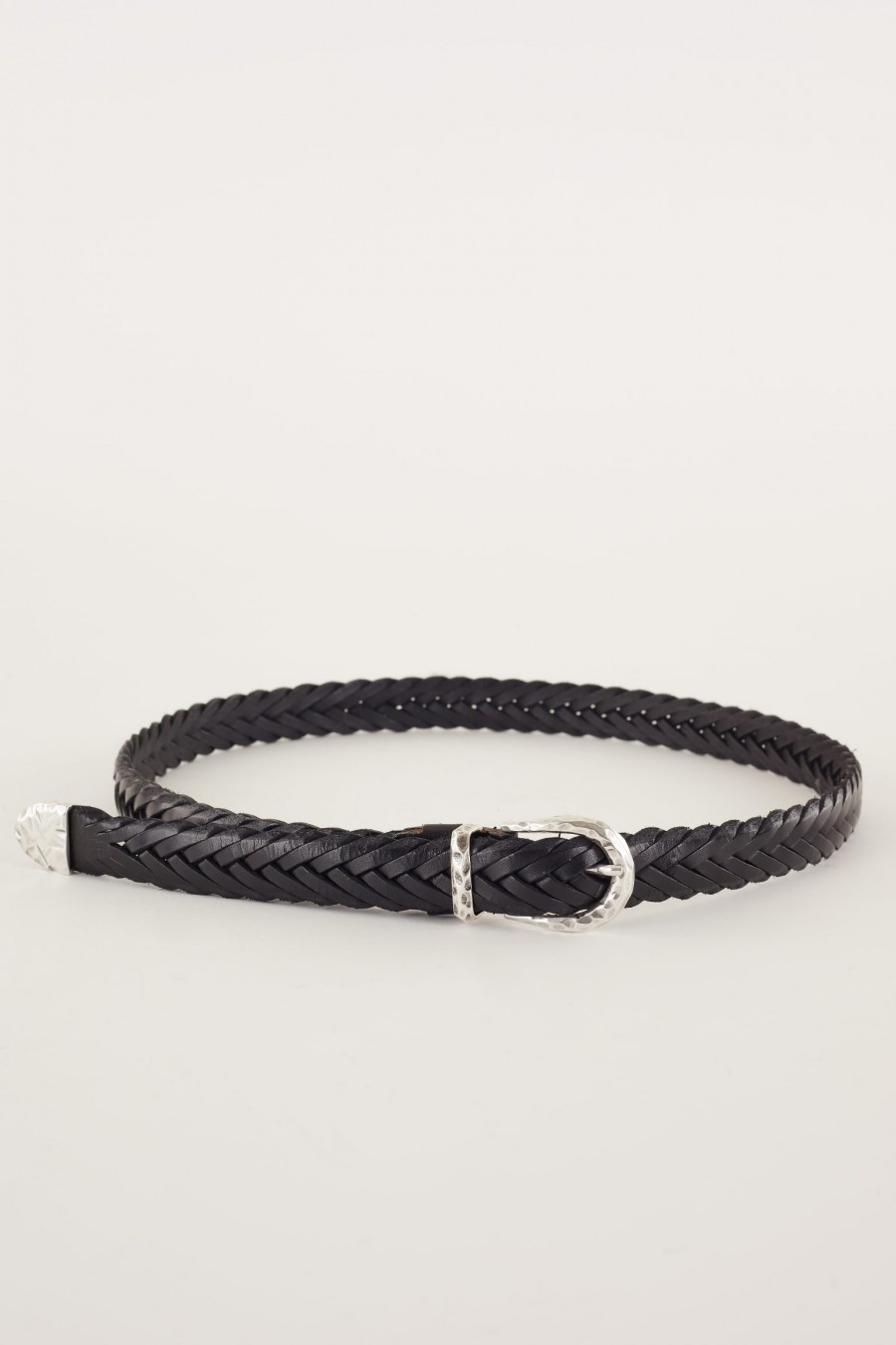 Woven leather belt made in Italy