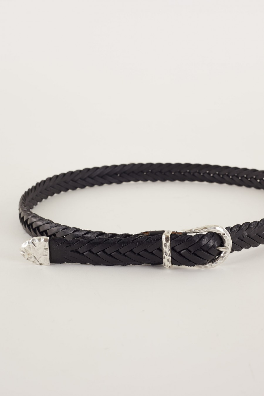 Woven leather belt with steel buckle