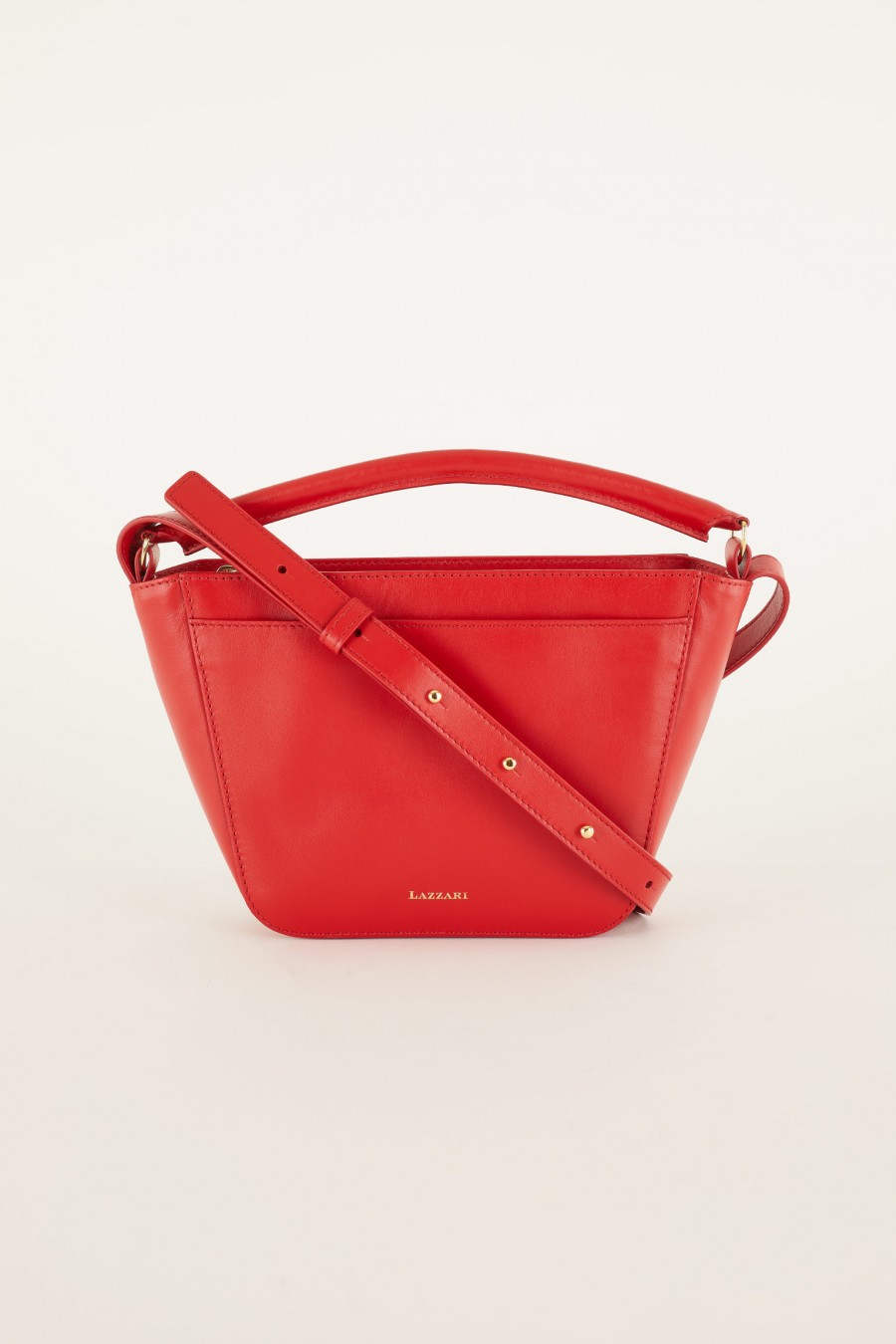 red trapeze bag 100% leather
