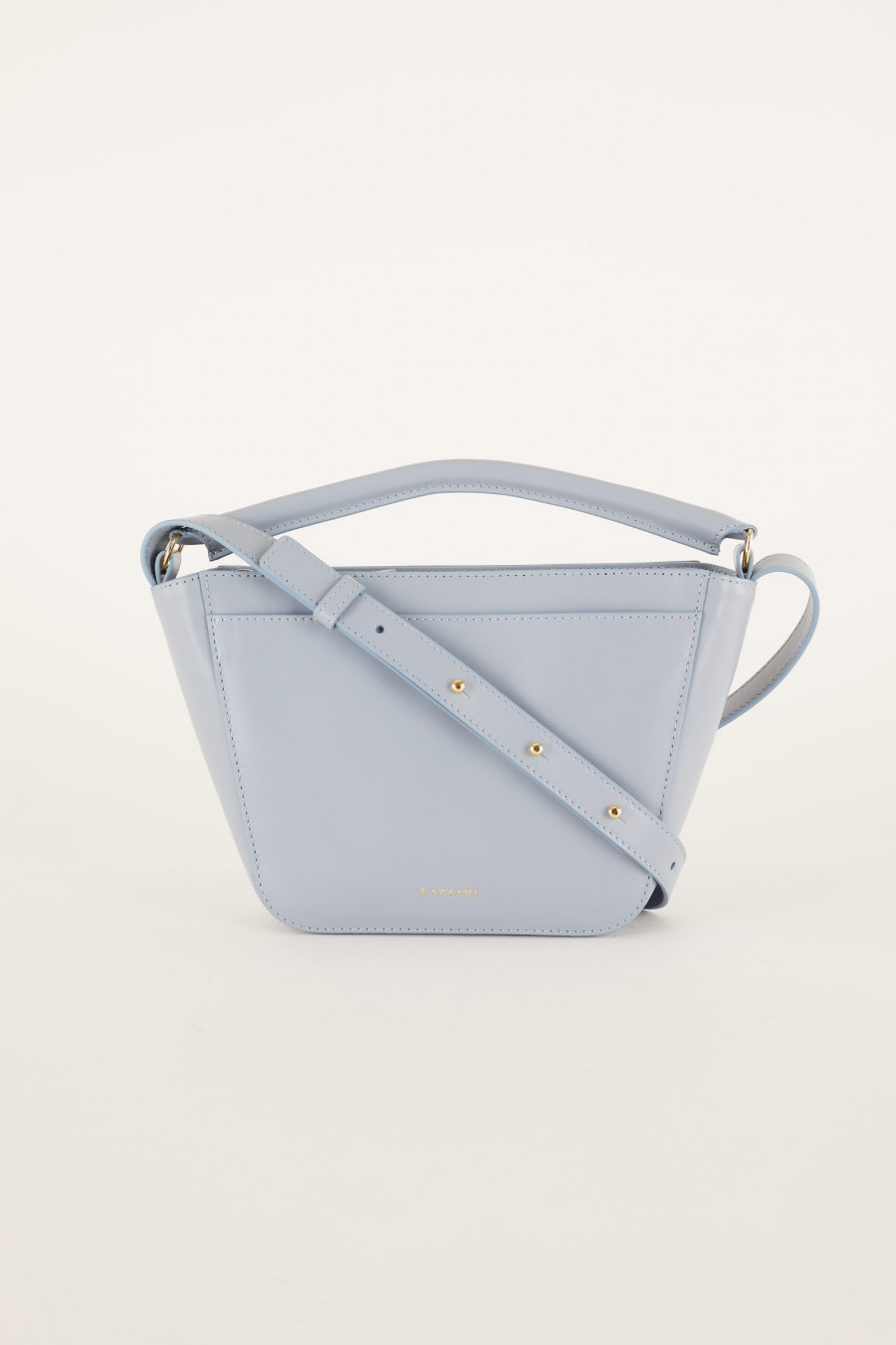powder blue trapeze bag made in italy