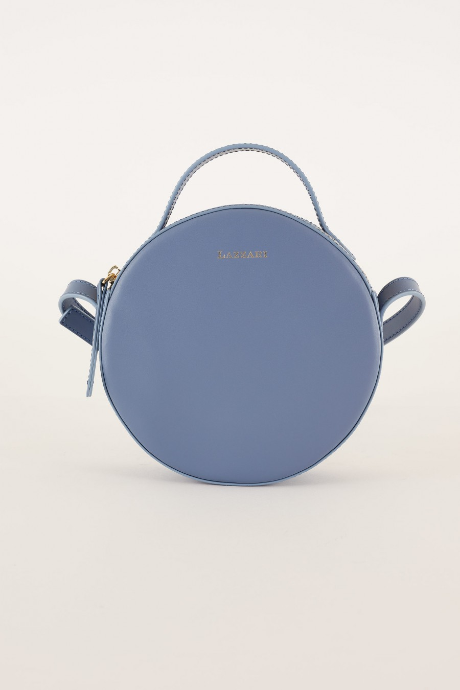 light blue round shoulder bag