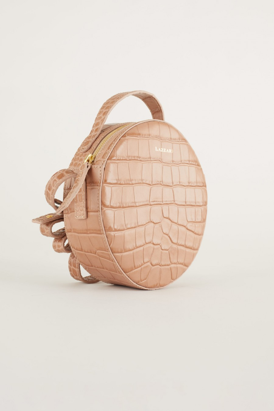croco print pink round shoulder bag