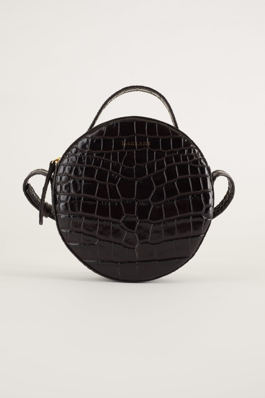 croco print black round shoulder bag