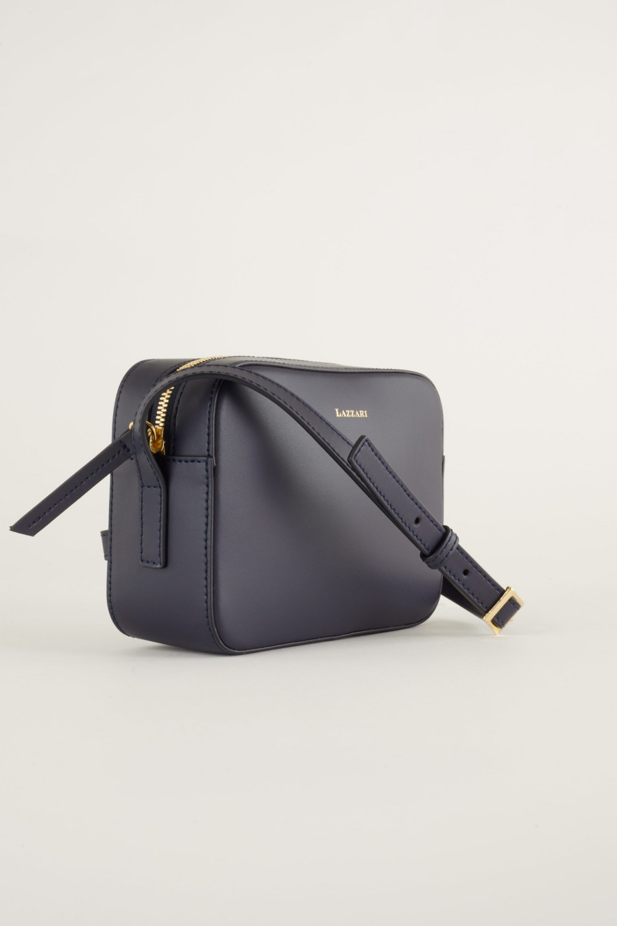 blue leather mini bag made in italy