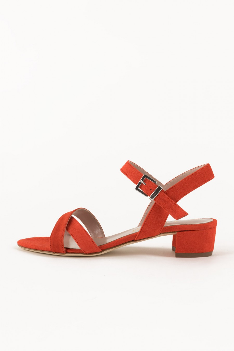 Suede sandals with crossed lists