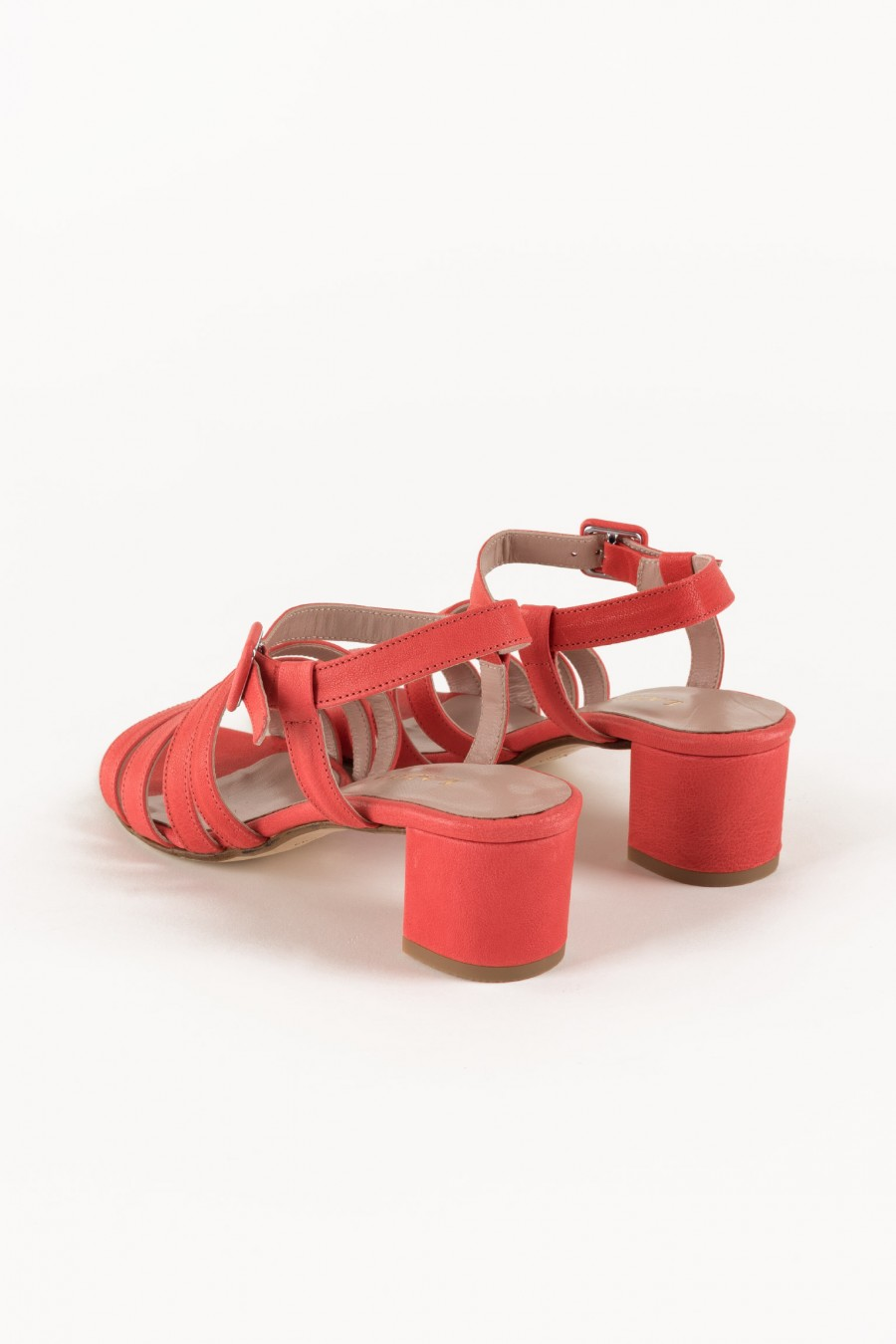 Coral red sandals with stripes