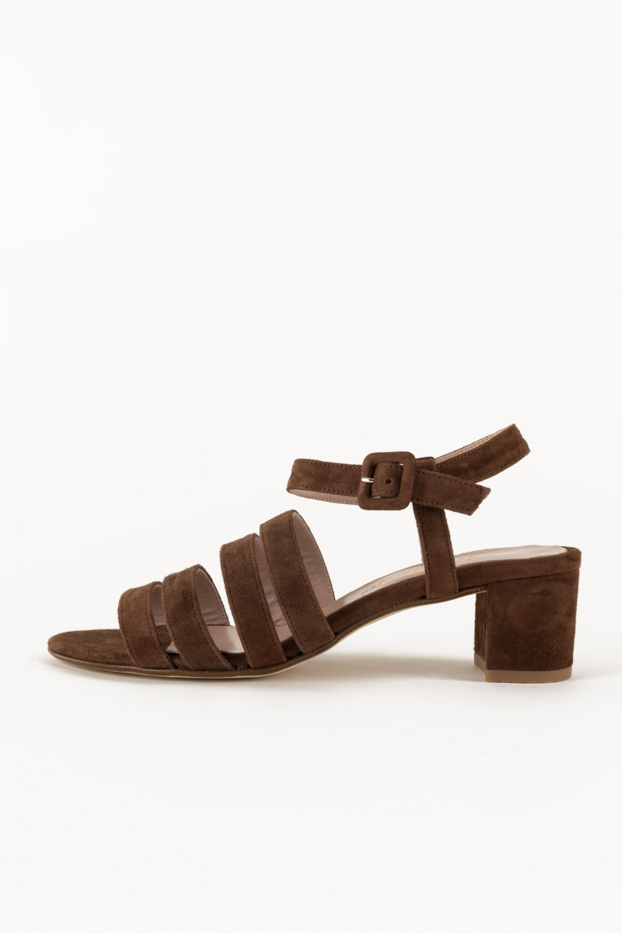 Brown heeled sandals