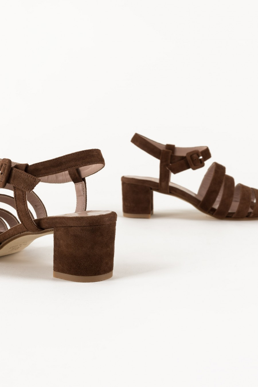 Brown sandals with large heel
