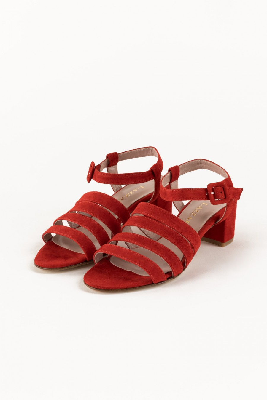 Red sandals with lists