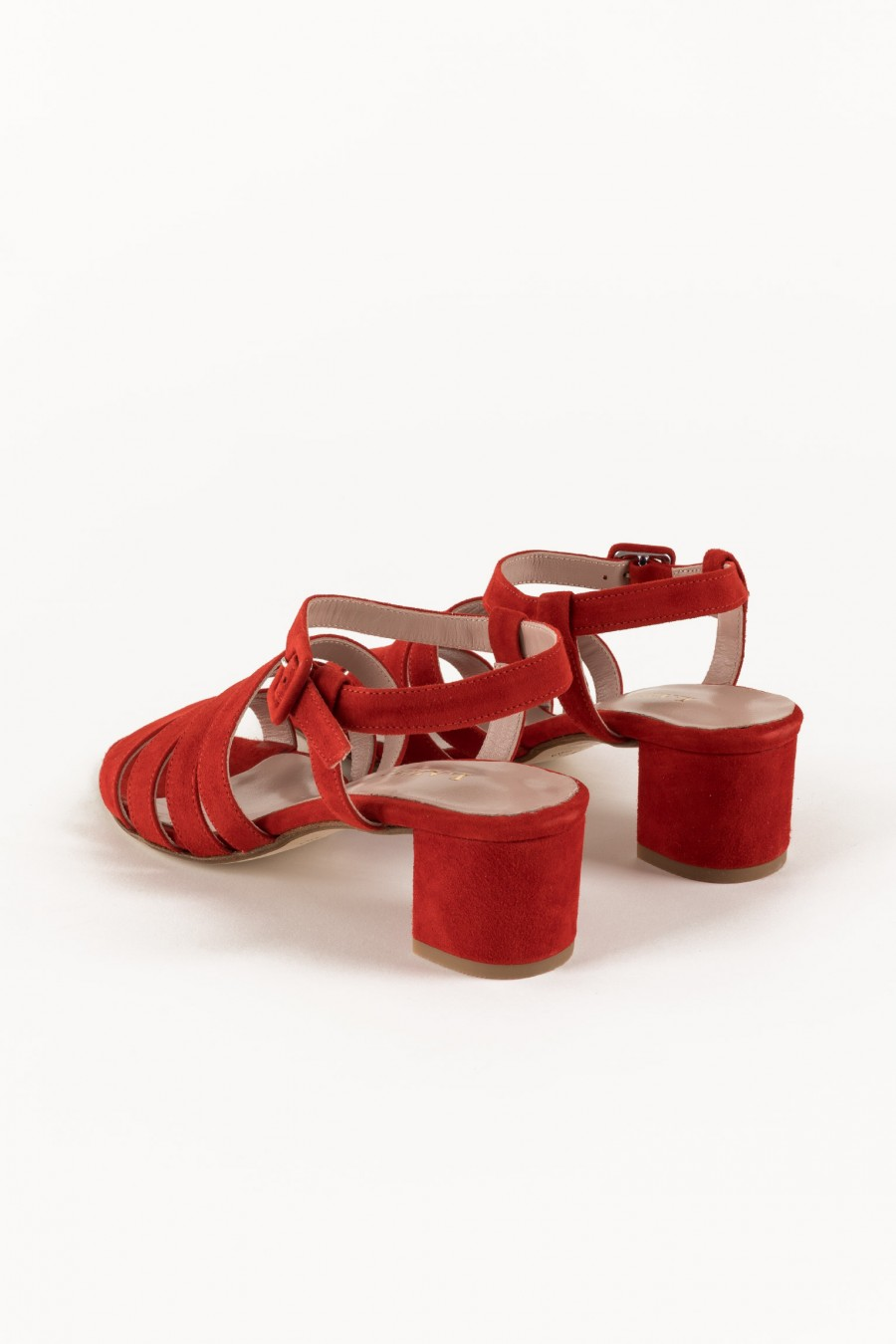 Red sandals with large heel