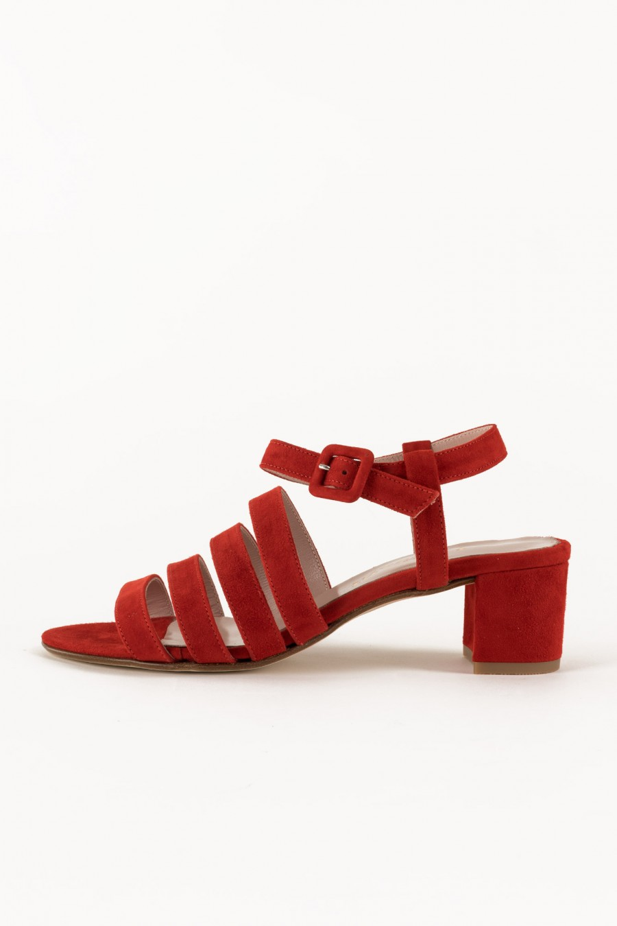 Red sandals with stripes