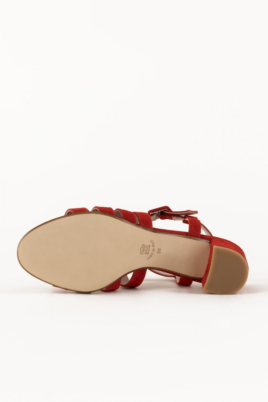 Red sandals with leather outsole
