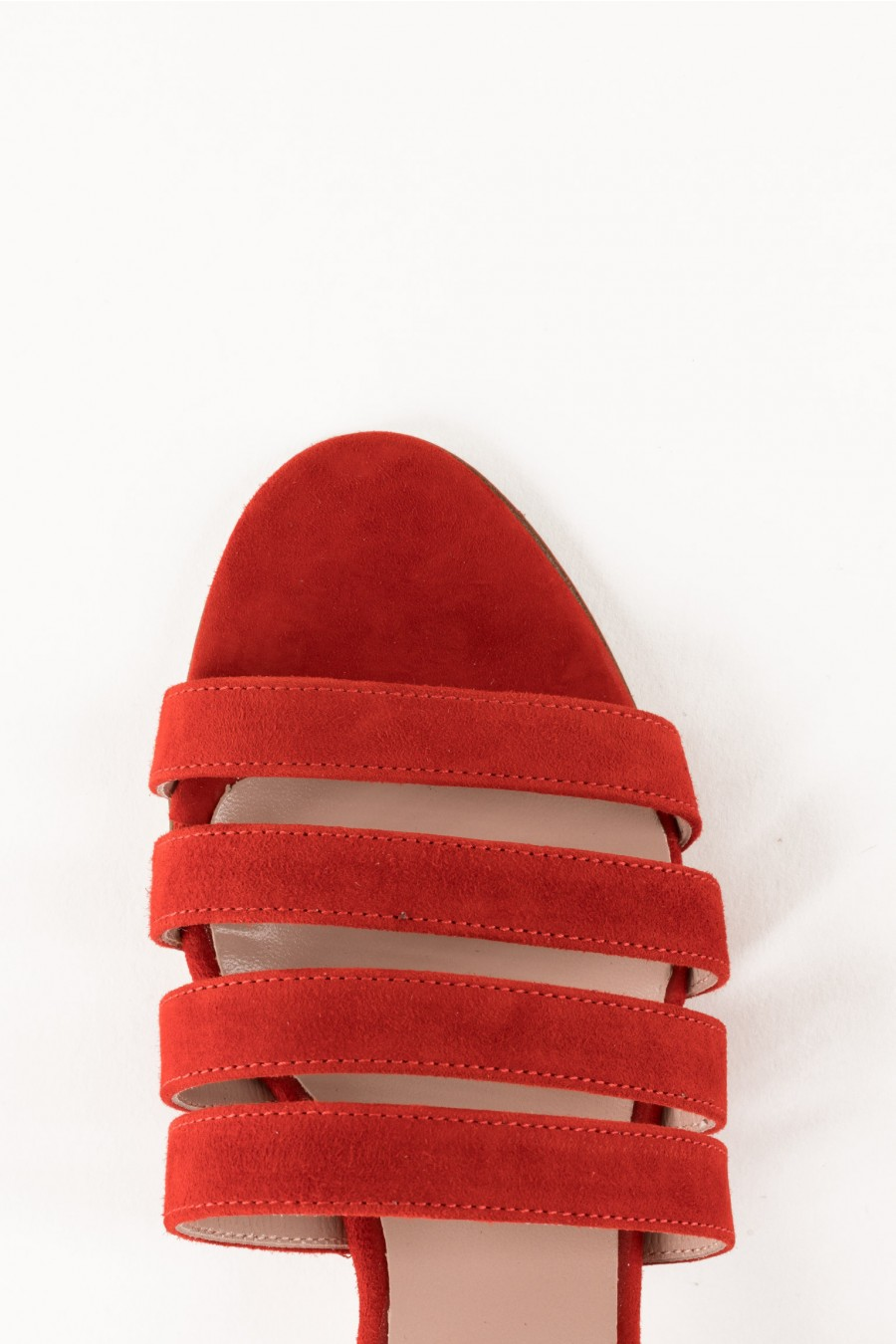 Suede leather red sandals