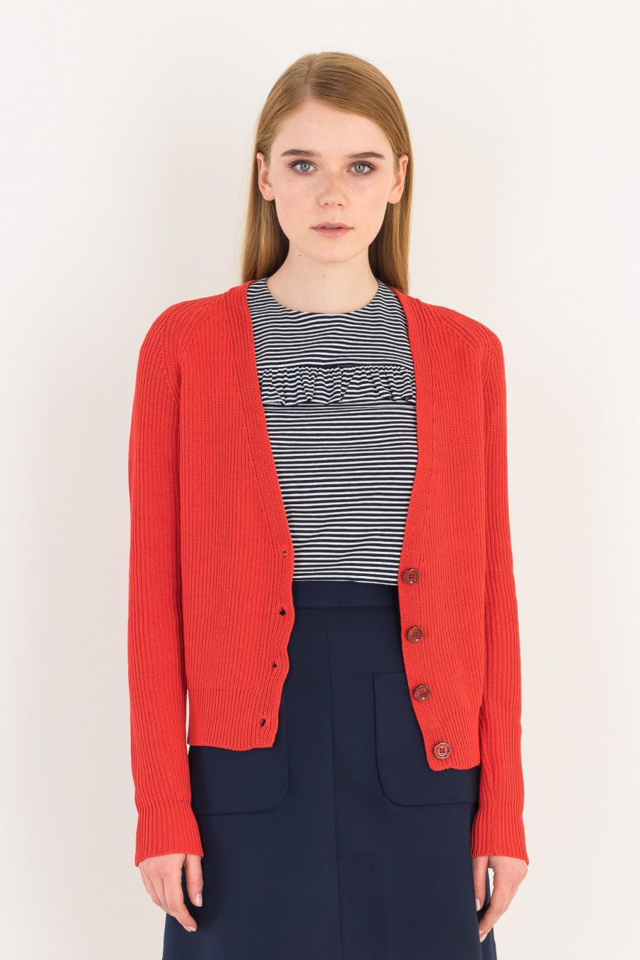 Red cardigan with buttons