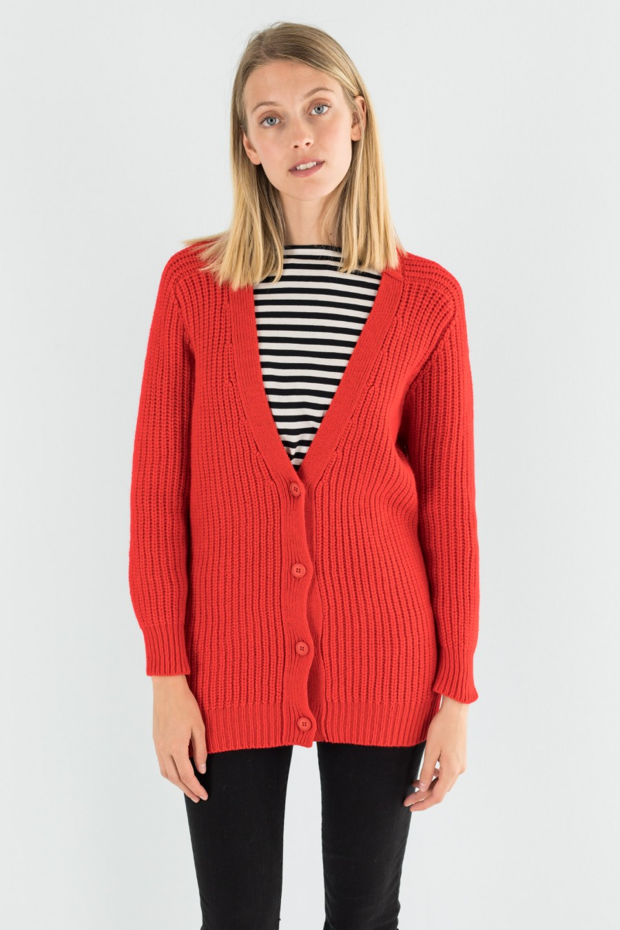 Cardigan donna in lana rosso acceso