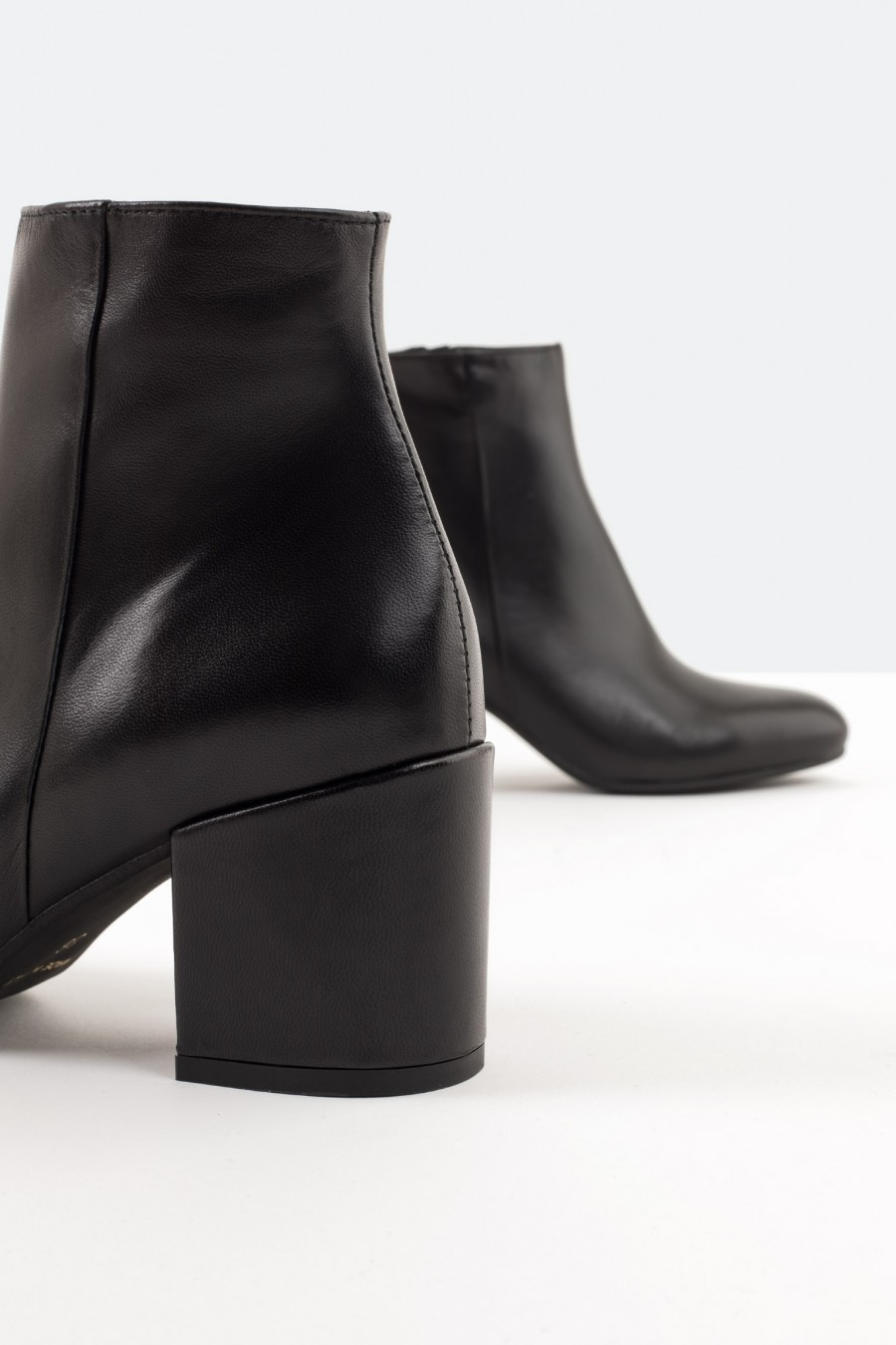 Black leather ankle boots with side zips