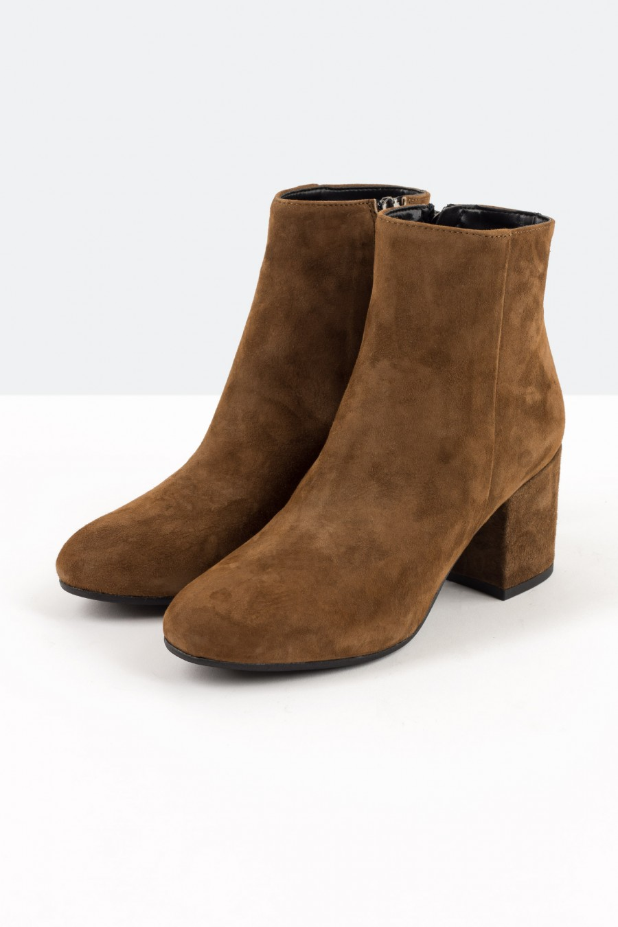 Brown nappa leather ankle boots