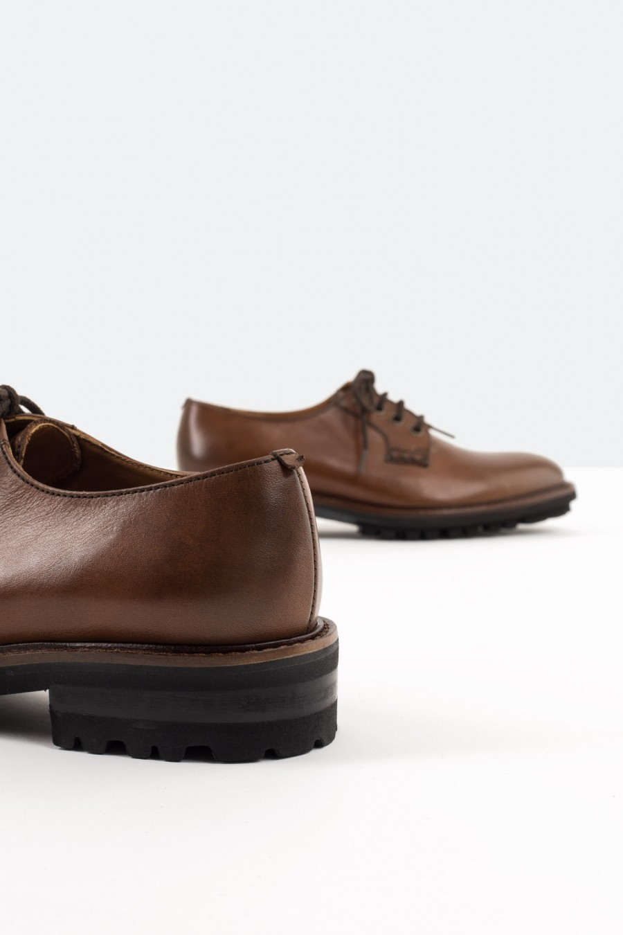Tobacco brown leather derby shoes