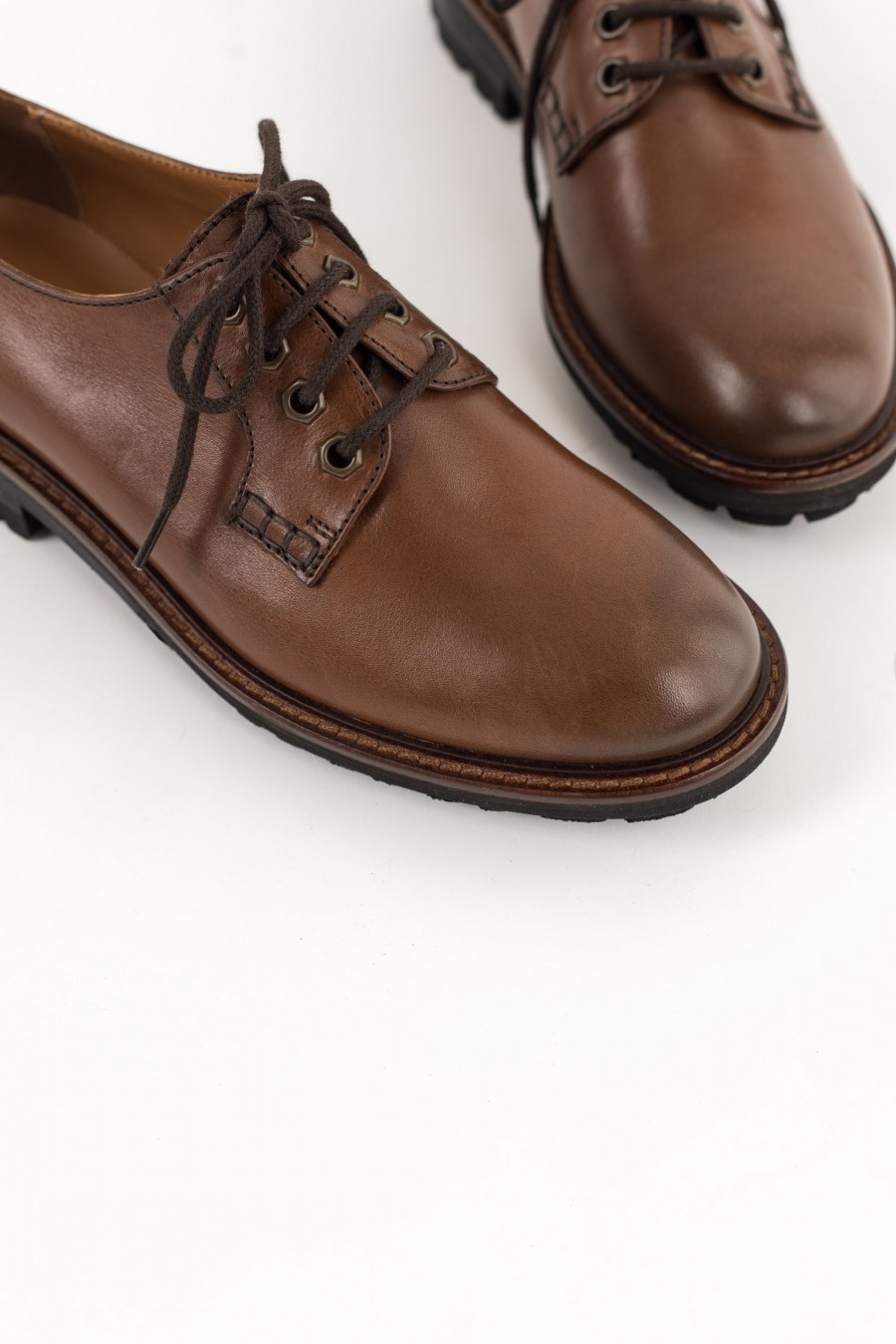 Brown rounded toe derby shoes