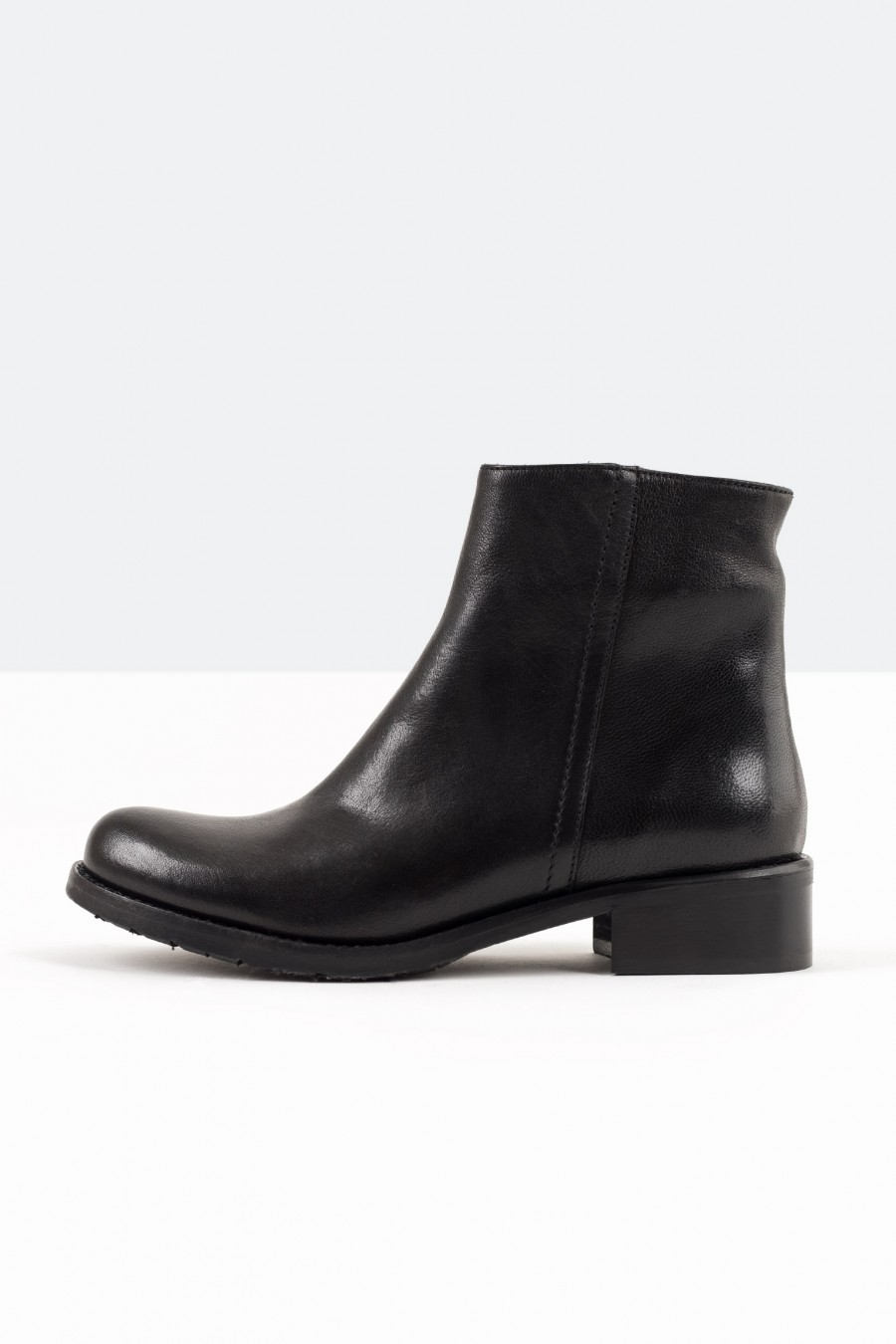 Black leather boots with zip detail