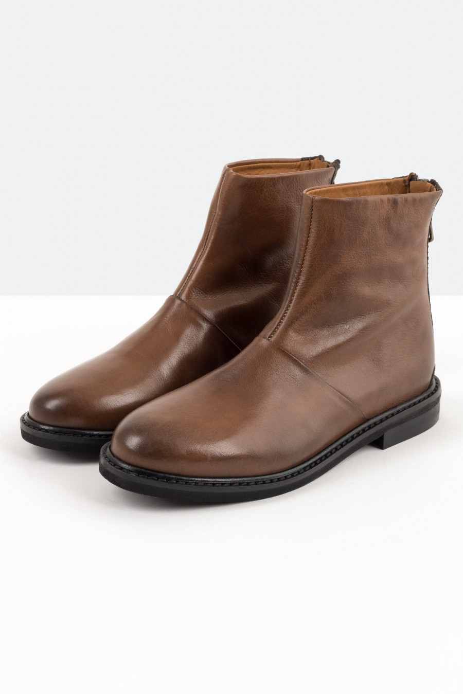 Tobacco brown leather boots