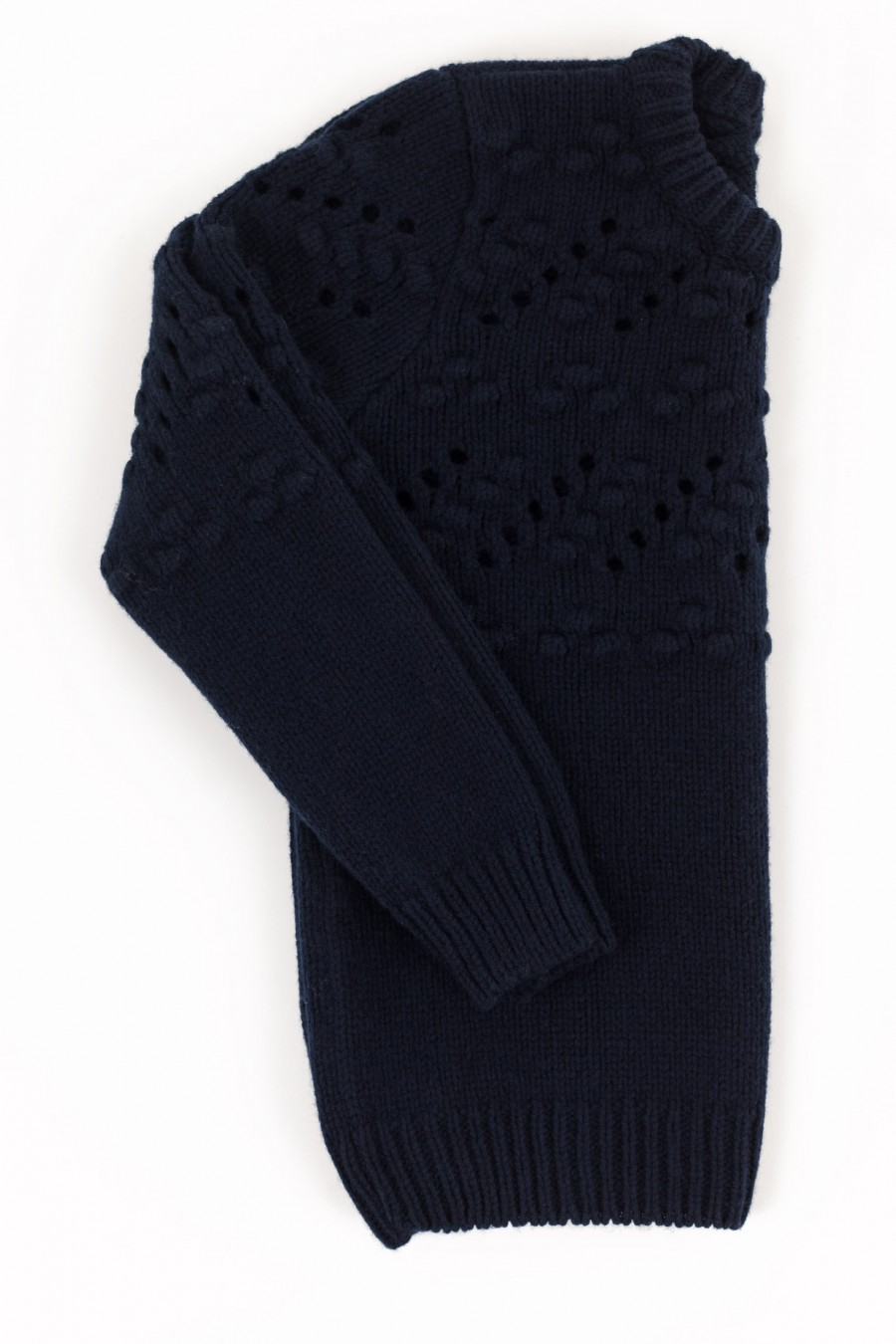 Blue openwork thick woolen jumper