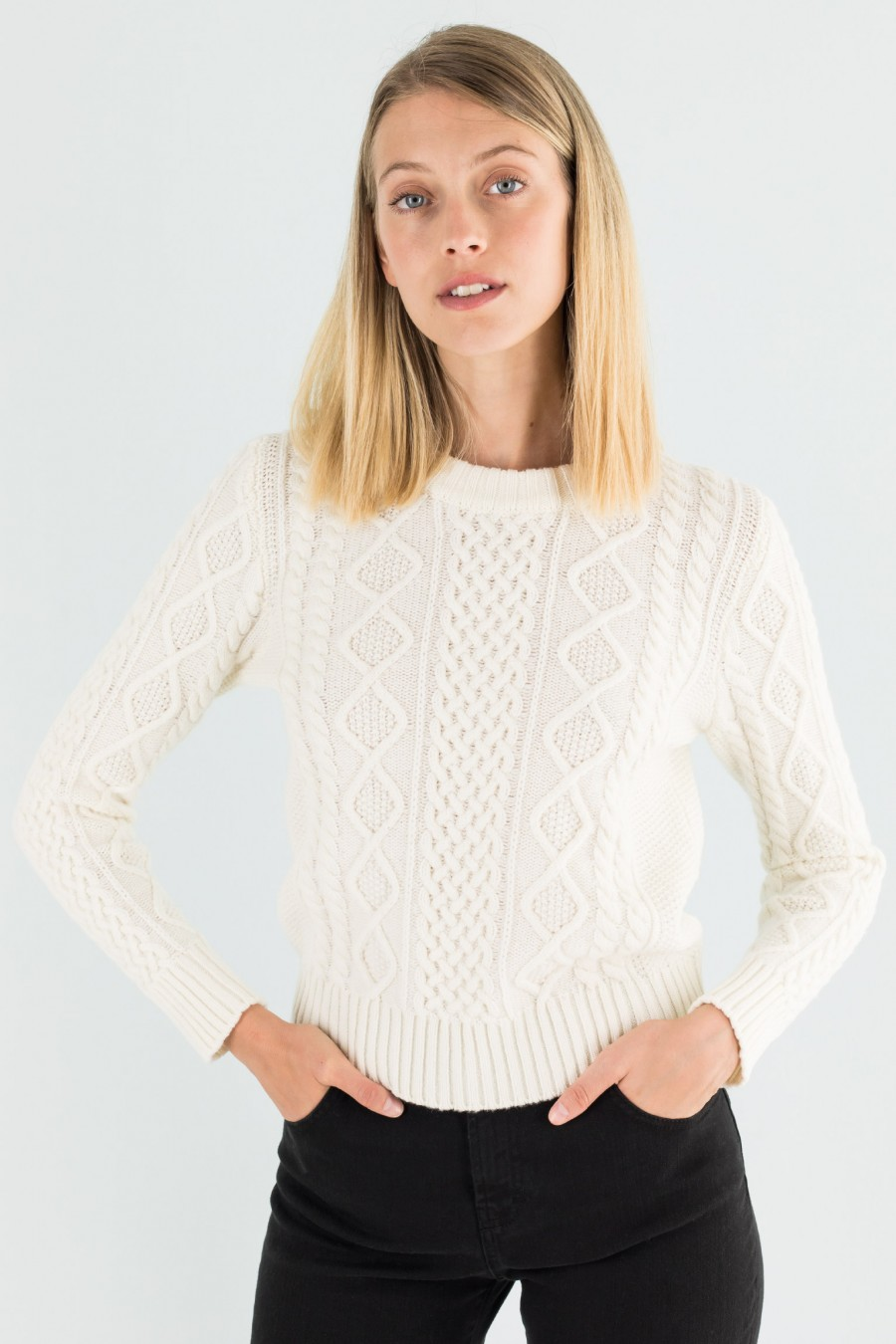 White fisherman jumper