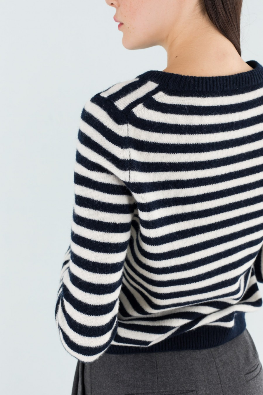 Black and white striped pullover
