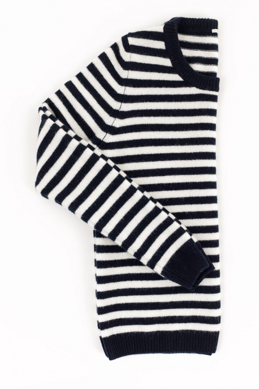 Crew-neck pullover with blue and white stripes