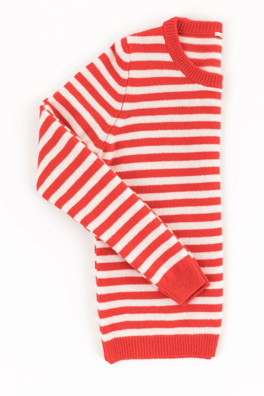 Soft pullover with red and white stripes
