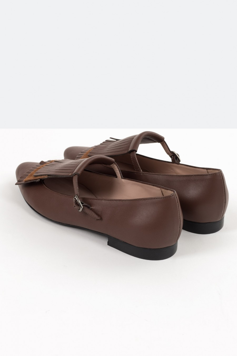 Genuine brown leather flat