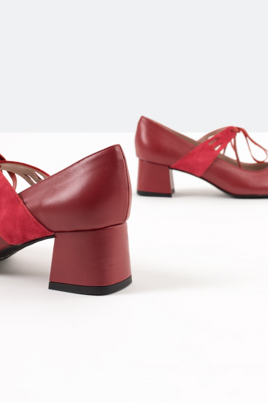 Red leather shoes with red suede straps