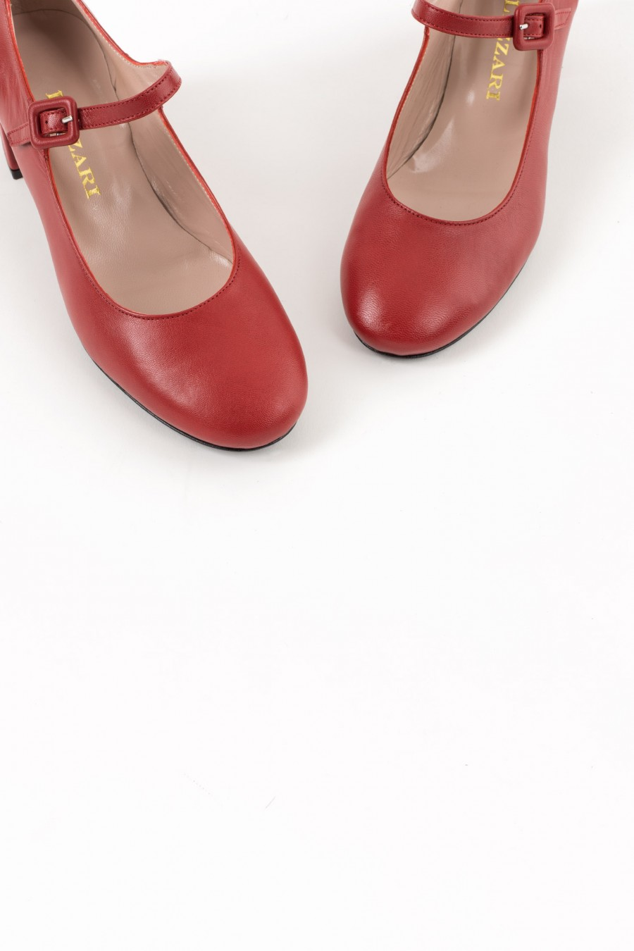 Red rounded toe Mary Jane
