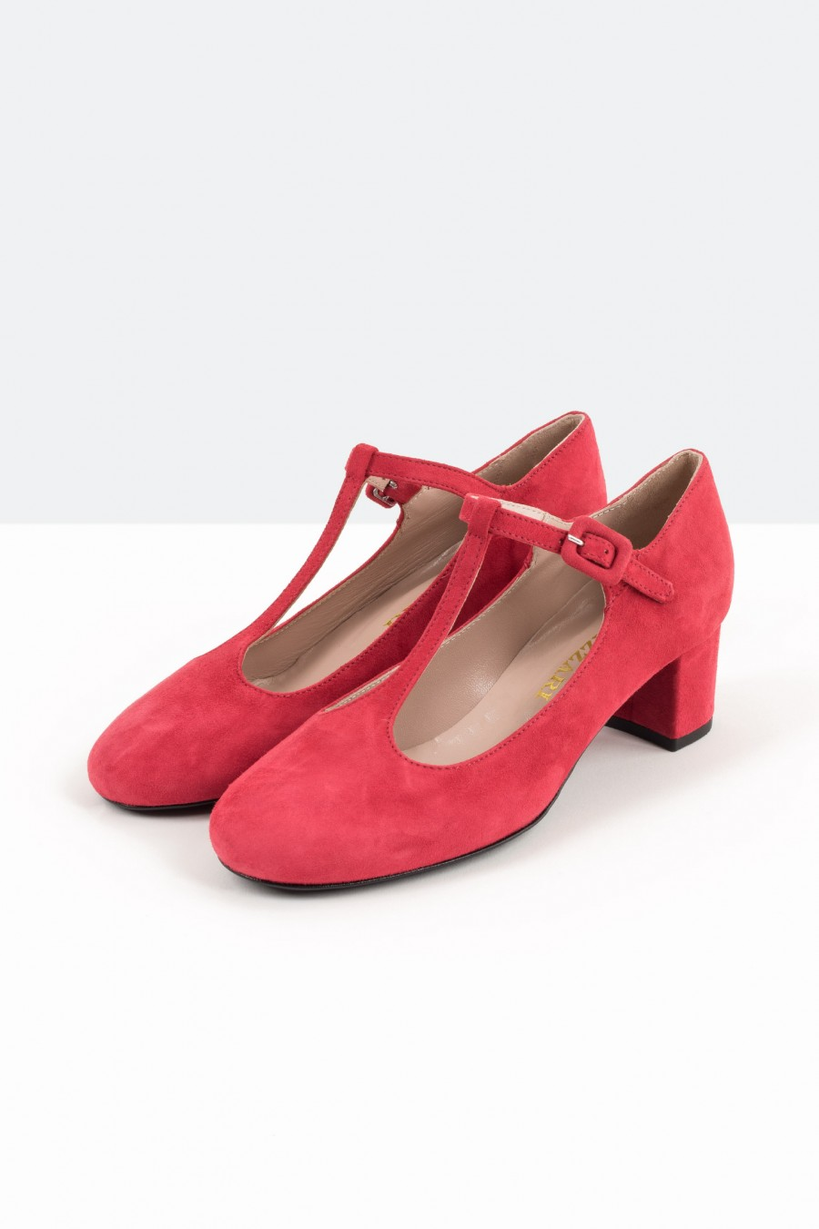 Red suede T string bebè shoes