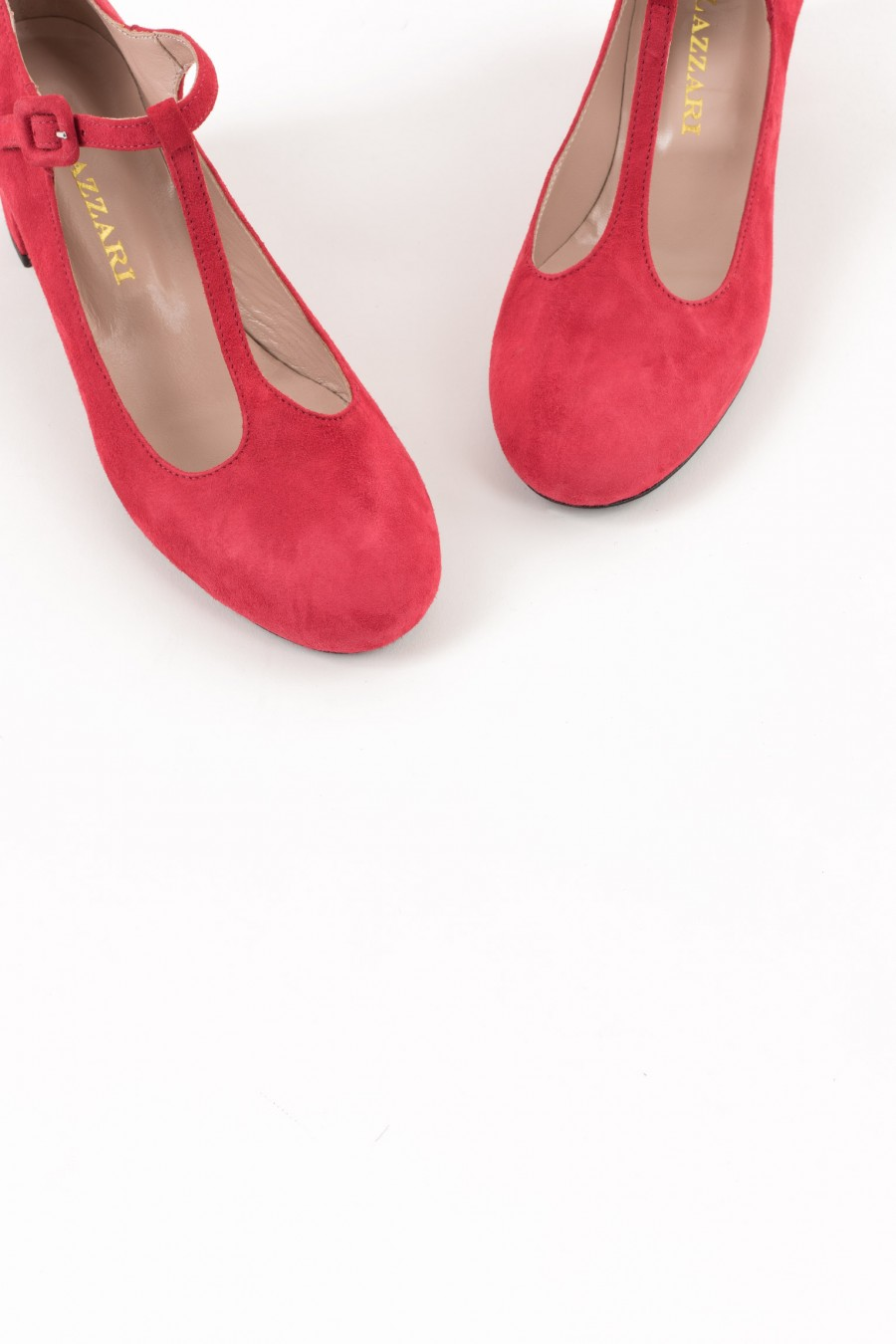 Red suede rounded toe bebè shoes