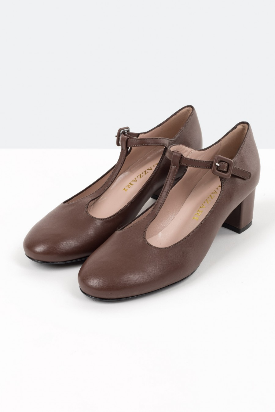 Brown leather T string shoes
