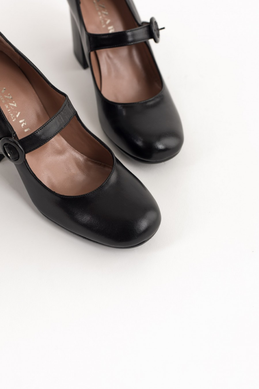Black leather pointed toe Mary Jane