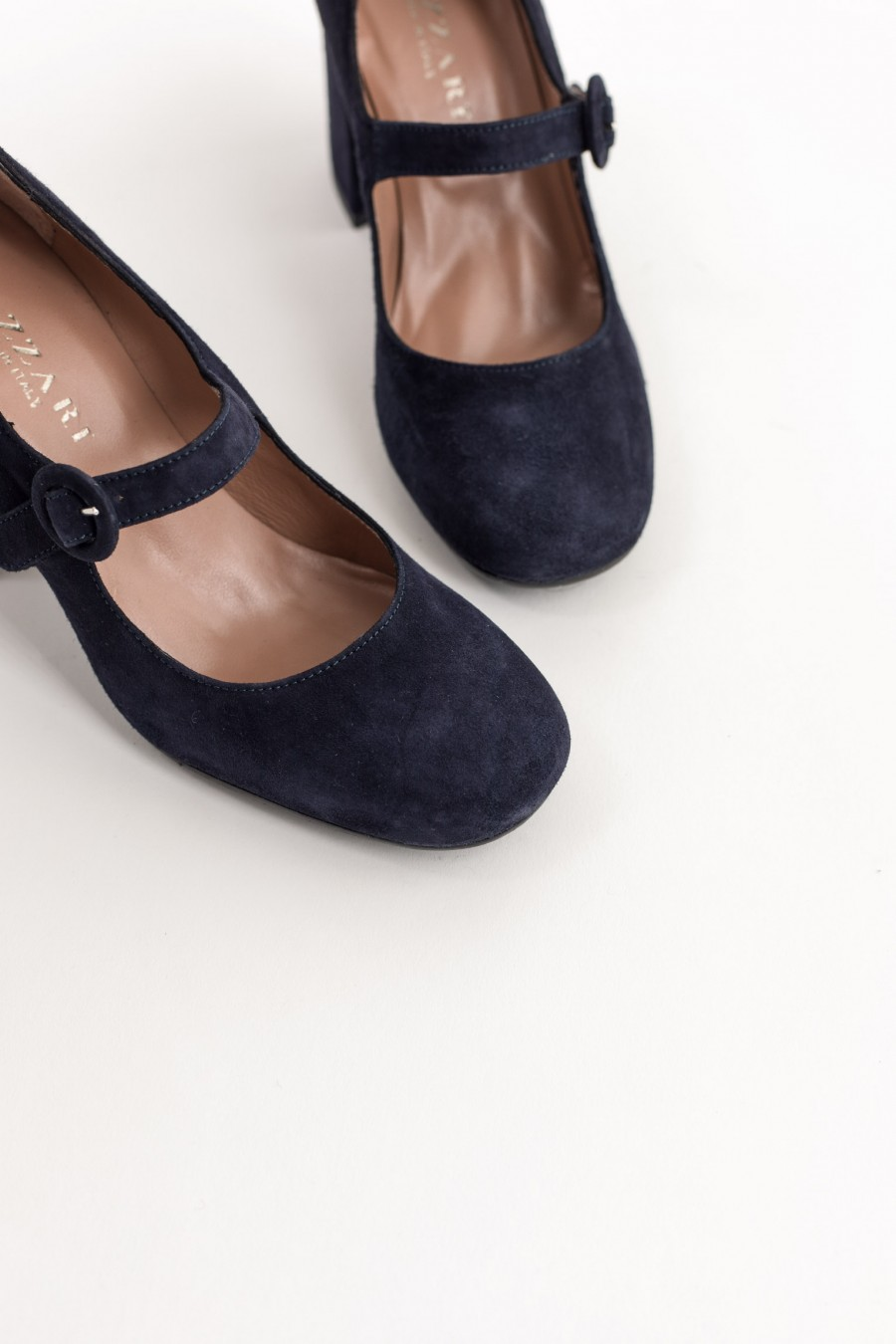 Blue suede pointed toe Mary Jane