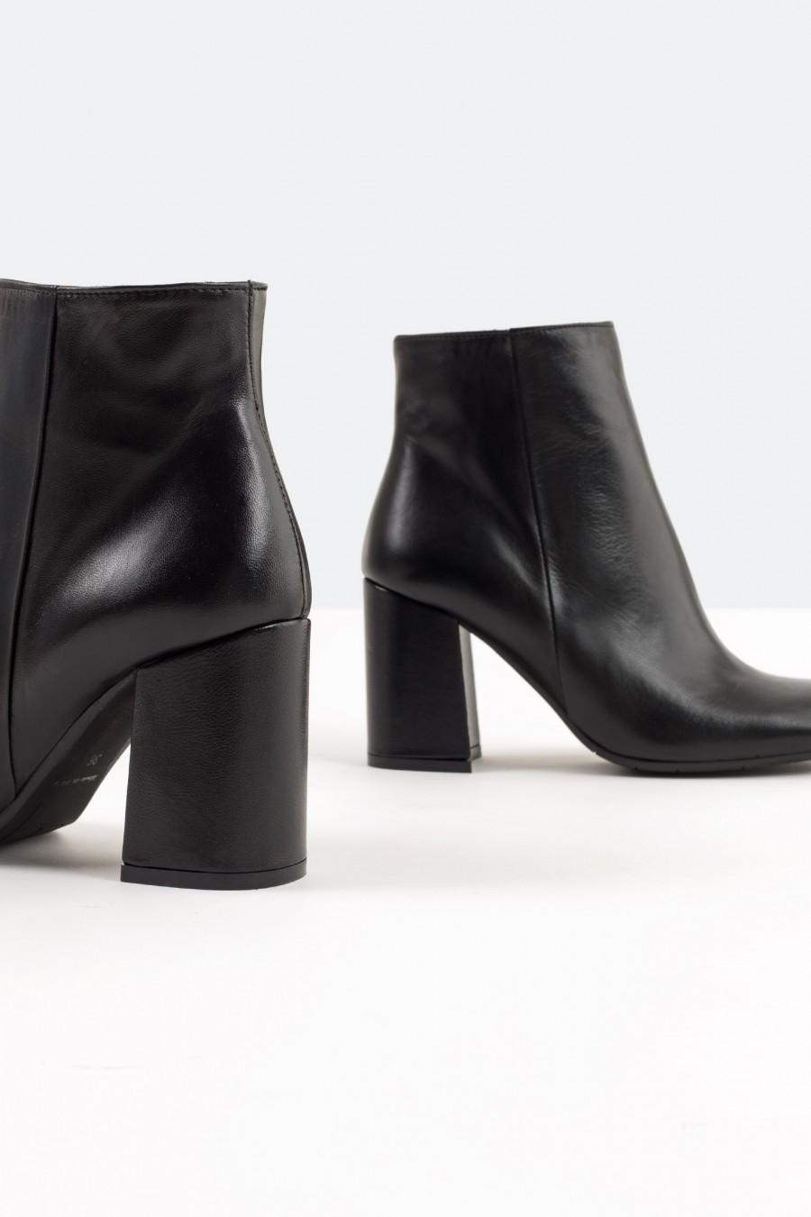 Genuine black leather ankle boots