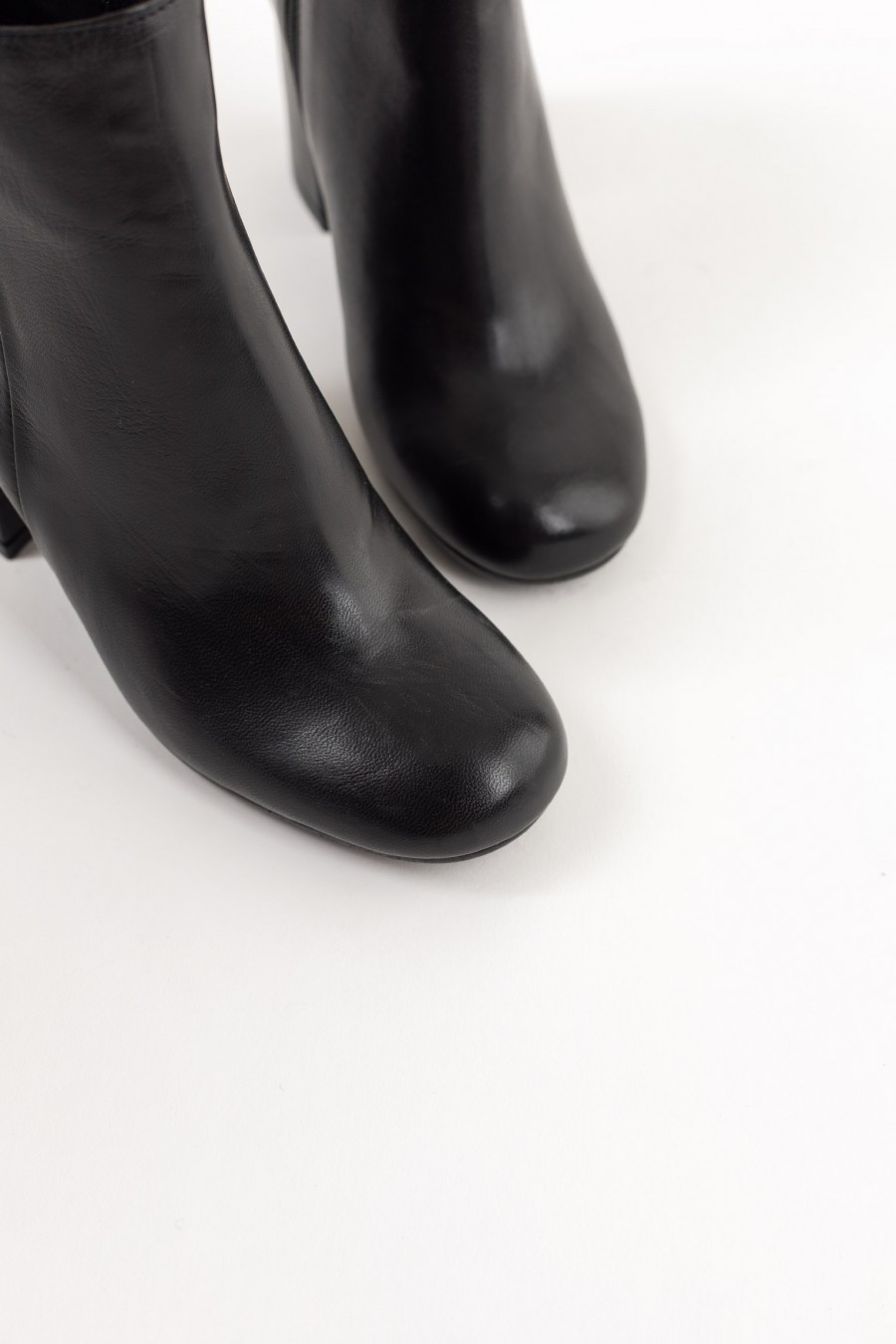 Black leather rounded toe ankle boots