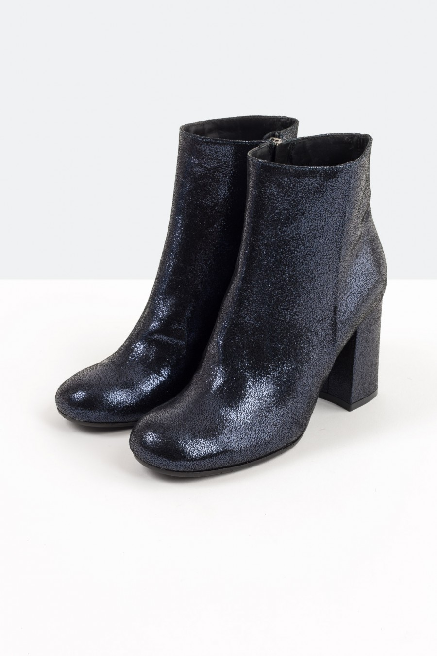 Metallic blue leather ankle boots