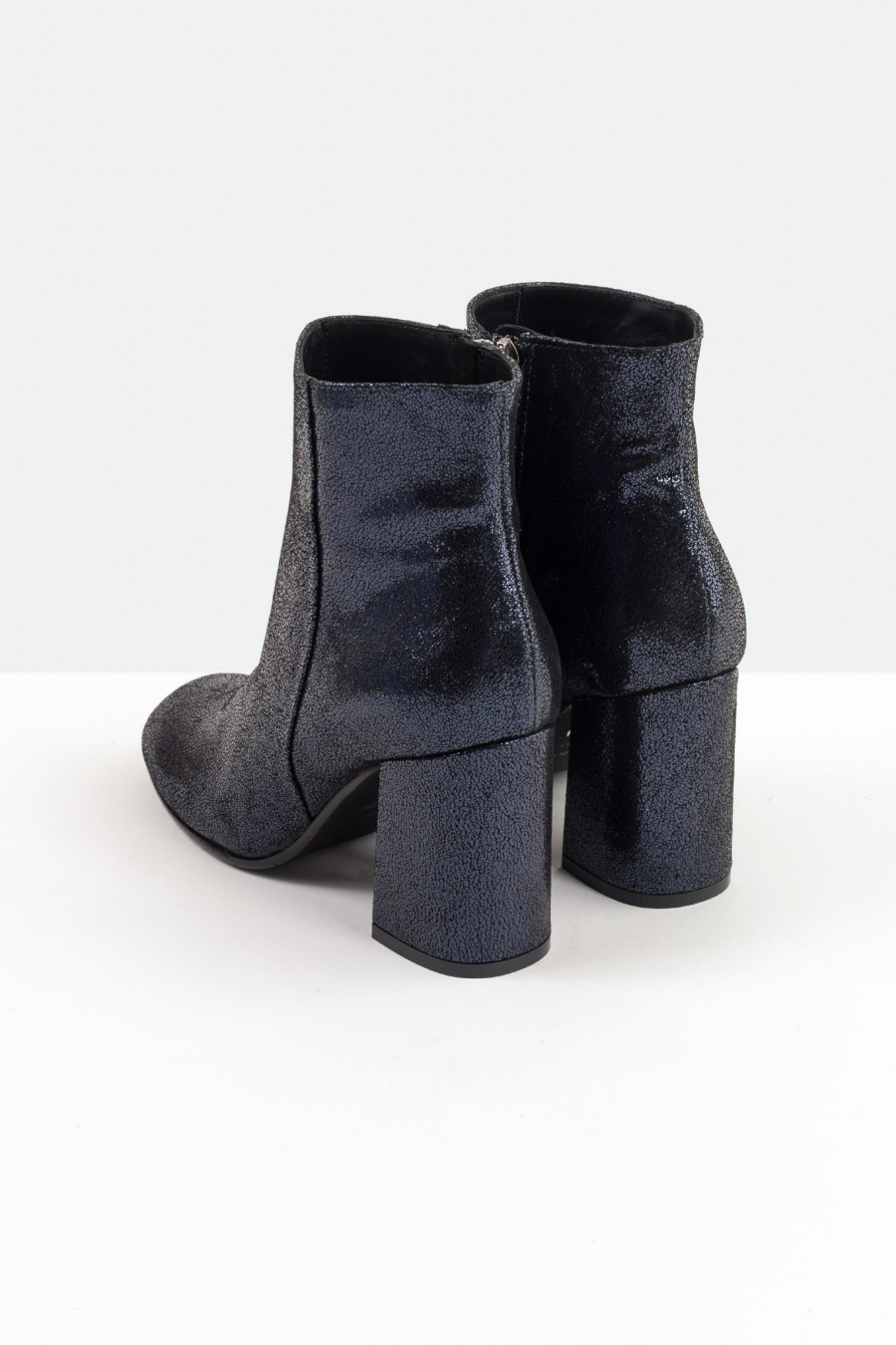 Blue leather ankle boots with high heels