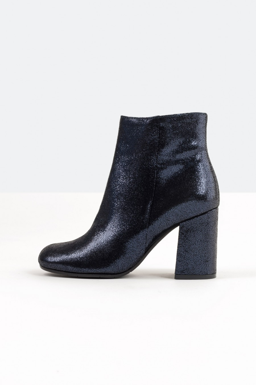 blue leather high heeled ankle boots